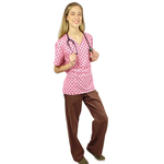 Pijama Cirúrgico Feminino - Peça única promocional - Poá Rosa