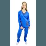 Pijama Cirúrgico Tradicional Tricoline - Azul Royal com detalhes Medical Nursing D4