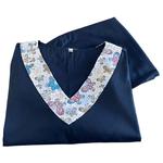 Pijama Cirúrgico Feminino - Peça única promocional - Azul marinho com detalhe em gola borboletas 03