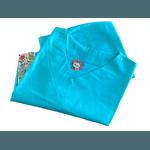 Pijama Cirúrgico Feminino - Peça única promocional - Azul claro com bolsos Flores 06