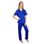 Pijama Cirúrgico Feminino Gabardine - Azul Royal