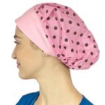 Touca de elástico - poá rosa