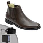 Kit Botina Comfort Premium em Couro Legítimo Preto