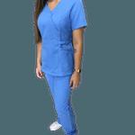 Conj. Cirurgico Fem. em Microfibra Azul Glace - plus size