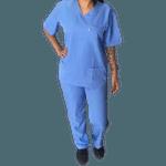 Conjunto Cirúrgico em Microfibra - Azul Glace - Plus Size