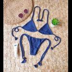 Conjunto Lacinho Azul Marinho Canelado