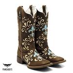 Bota Texana Franca Boots em Couro Legítimo Bordado Lírio Azul Solado café