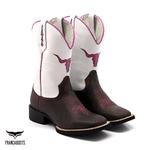 Bota Texana Franca Boots bico quadrado boi pink