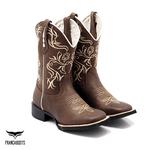 Bota Texana Franca Boots bico quadrado bordado bege
