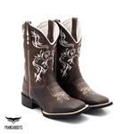 Bota Texana Franca Boots bico quadrado FLOATER linha branca