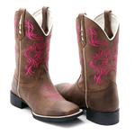Bota Texana Franca Boots bico quadrado bordado pink