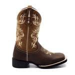 Bota Texana Franca Boots bico quadrado bordado caramelo