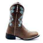 Bota Texana Franca Boots bico quadrado bordado azul