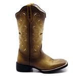 Bota Texana Feminina Franca Boots bordada Cruz