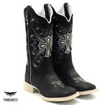 Bota Texana feminina Franca Boots em couro Preta sola marfim