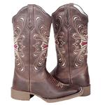 Bota Texana feminina Franca Boots em couro cruz rosa sola café