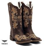 Bota Texana feminina Franca Boots bordada sola café