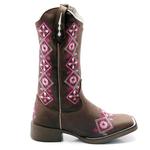Bota Texana feminina Franca Boots bico quadrado - FLORAL sola café