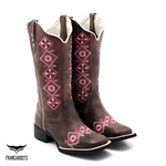 Bota Texana feminina Franca Boots bico quadrado - FLORAL