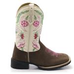 Bota Texana feminina Franca Boots bordada bordada flores