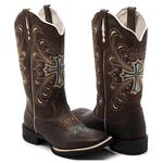 Bota Texana Franca Boots bico quadrado cruz azul