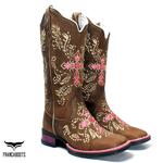 Bota Texana feminina Franca Boots Cruz Rosa fb034