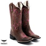 Bota Texana feminina Franca Boots- bordada Pink