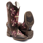 Bota Texana Feminina Franca Boots bordada cruz sola cafe