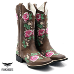 Bota Texana feminina Franca Boots bico quadrado flores F32