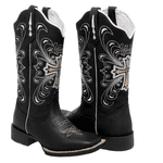 Bota Texana feminina Franca Boots bico quadrado preta cruz