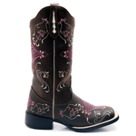 Bota Texana feminina Franca Boots bico quadrado hopper pink