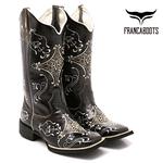Bota Texana feminina Franca Boots bico quadrado hopper verniz