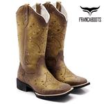 Bota Texana Feminina Franca Boots Hopper em Couro Legítimo Envelhecida