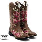 Bota Texana feminina Franca Boots bico quadrado flores pink