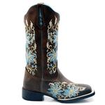 Bota Texana feminina Franca Boots bico quadrado FLOral azul