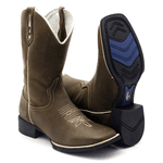 Bota Texana Franca Boots Bico quadrado lisa