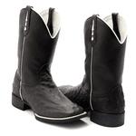 Bota Texana Franca Boots replica do couro avestruz preta lisa