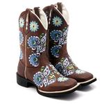 Bota Texana feminina Franca Boots bico quadrado bordado azul