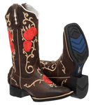 Bota Texana feminina hopper Franca Boots Flores vermelhas