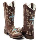 Bota Texana Feminina Franca Boots bordada cruz azul.