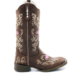 Bota Texana feminina Franca Boots bico quadrado cruz-rosa