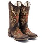 Bota Texana feminina Franca Boots bico quadrado BORDADA CRUZ