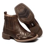 botina texana franca boots feminina bico quadrado bordada a laser fb2270