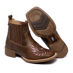 botina texana franca boots feminina bico quadrado bordada a laser fb2272