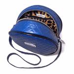 Bolsa Redonda Feminina Lisa Couro Eco Mini Bag Transversal Azul
