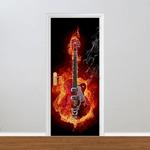 Adesivo para Porta - Guitarra Fogo