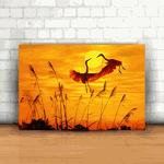 Placa Decorativa - Por do sol Pássaros