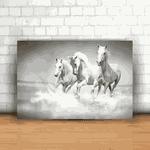 Placa Decorativa - Cavalos Brancos