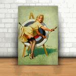 Placa Decorativa - Pin-up Tiro Alvo