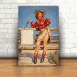 Placa Decorativa - Pin-up Cowgirl Armada